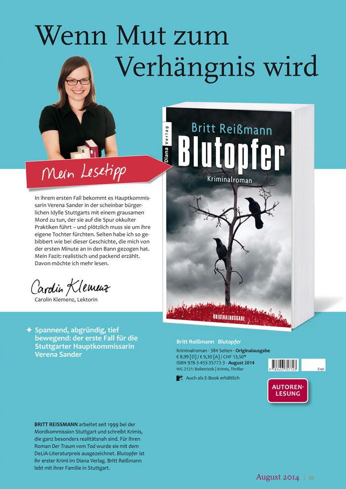Katalogseite Diana Verlag - Blutopfer